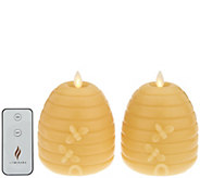 Martha Stewart Set of (2) 5 Flameless Beehive Pillar Candles - H216620