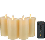 Luminara Set of (4) 3 Flameless Wax Votive Candles with Remote - H217720