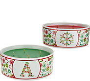HomeWorx by Harry Slatkin S/2 Monogrammed Holiday Candle Bowls - H211421