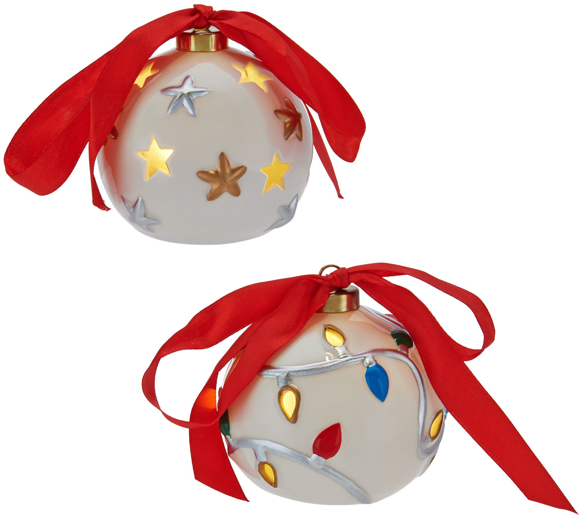 Lightscapes S/5 Lit Pierced Porcelain Ornaments with Gift Boxes ...