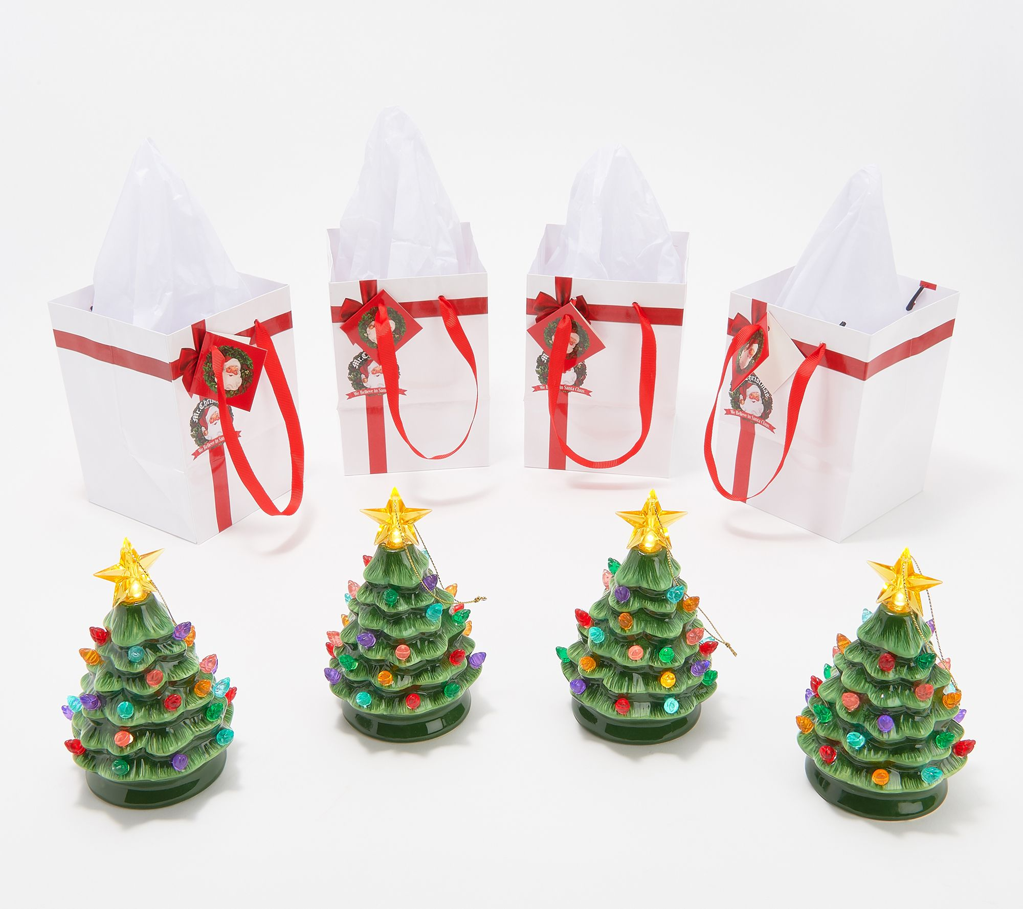 Horseshoe Christmas Tree For Sale.Mr Christmas Set Of 4 Lit Nostalgic Tree Ornaments With Gift Bags Qvc Com