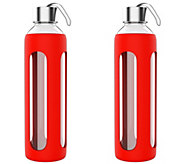 Classic Cuisine Set of (2) 20-oz Glass Water Bottles - Red - H301121