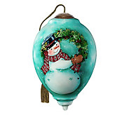 Snowman With Wreath Ornament - H383921