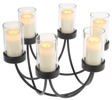 flameless candles with timer candle impressions centerpiece w 6 flameless votives 28703