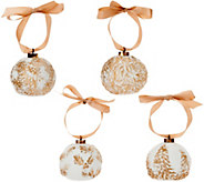 Lightscapes S/4 Illuminated Porcelain Embossed Ornaments - H211622