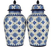 Set of (2) Lit 7 Medallion Porcelain Ginger Jars by Valerie - H211822