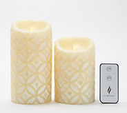 Luminara Set of 2 5&7 Embossed Pillars with Remote - H214922