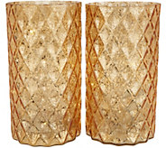 Set of (2) 9 Quilted Glass Pillars with Microlights by Valerie - H216222