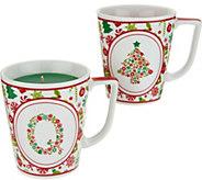 HomeWorx by Harry Slatkin S/2 Monogrammed Holiday Candle Mugs - H211423