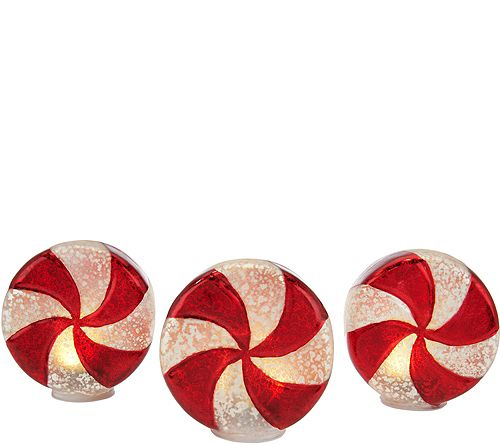Set of 3 Illuminated Mercury Glass Peppermintsby Valerie