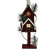 18 Illuminated Wooden Birdhouse with Timer by Valerie - H211923