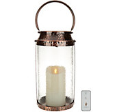 Luminara Cylinder Hammered Glass Lantern w/7 Pillar & Remote - H214923