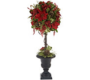 Glittered Poinsettia Ball Topiary in Urn by Valerie - H216323