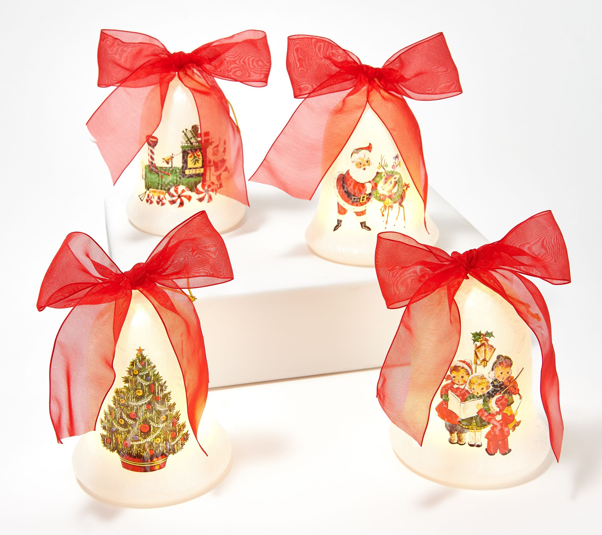 Mr. Christmas Set of 4 Illuminated Glass Bell Ornaments - Page 1 — QVC.com
