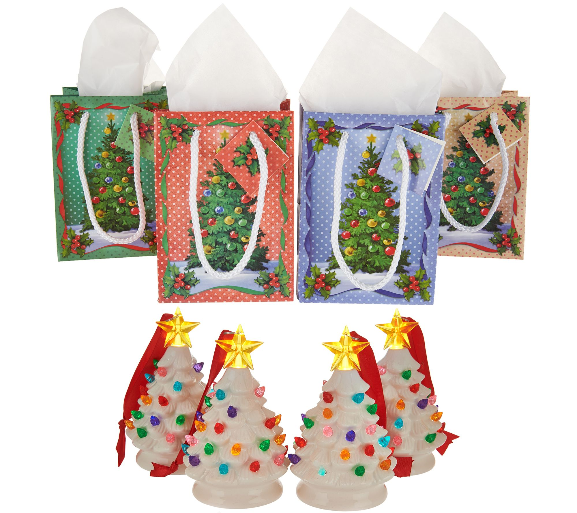 Mr. Christmas Set of 4 Mini Nostalgic Tree Ornaments with Gift Bags ...