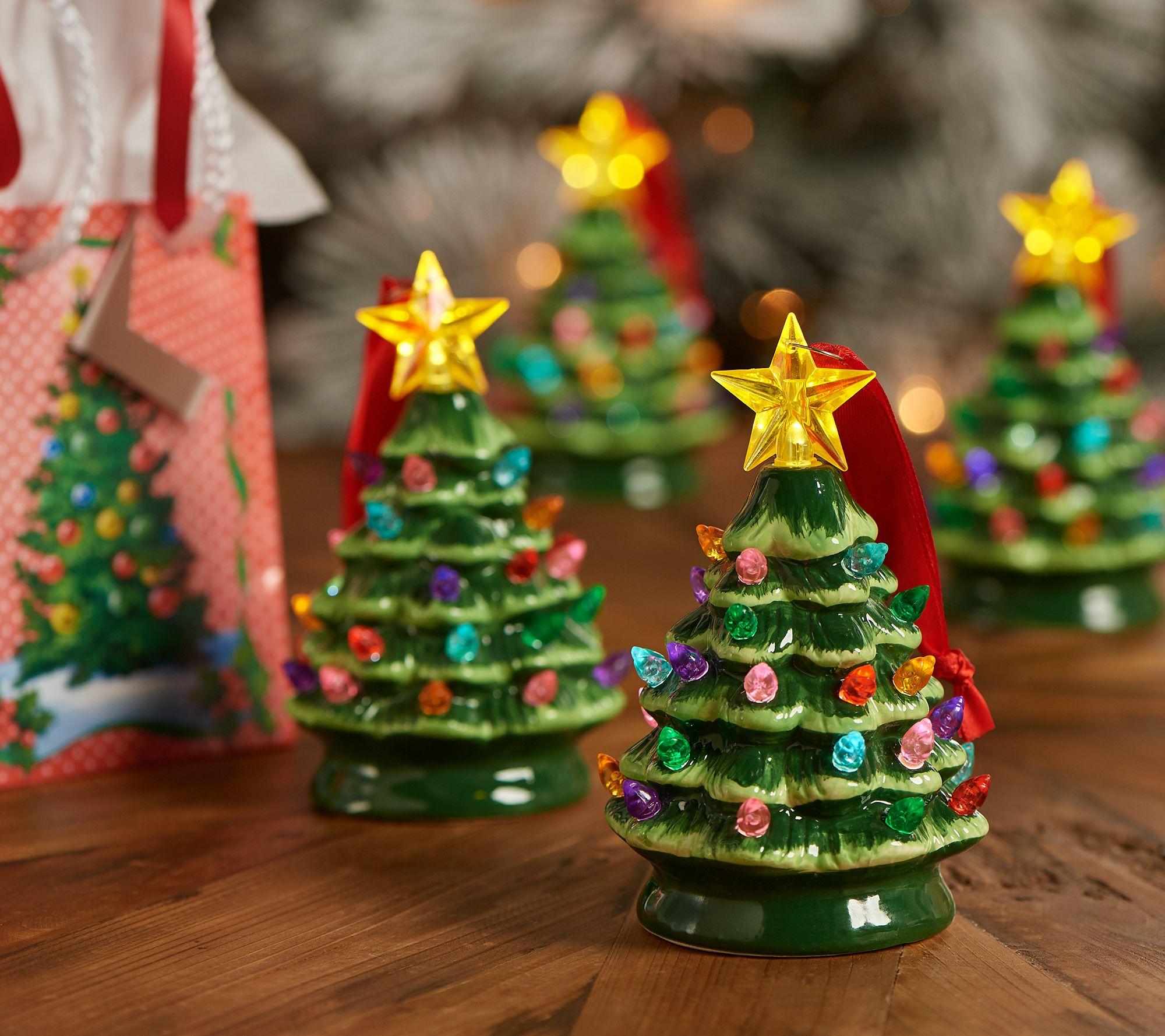 Mr. Christmas Set of 4 Mini Nostalgic Tree Ornaments with Gift Bags - Page 1 — QVC.com