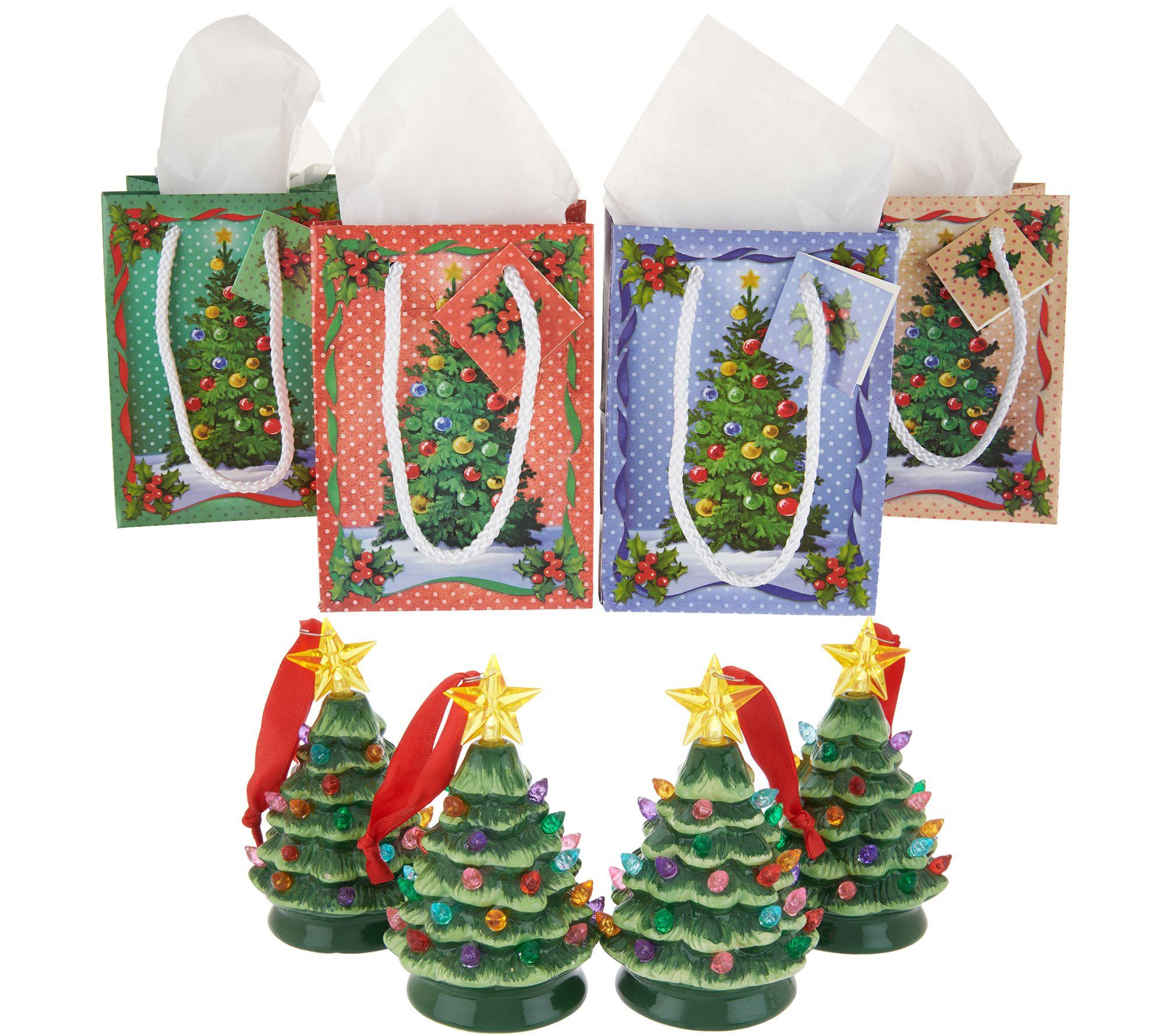 Mr Christmas Set Of 4 Mini Nostalgic Tree Ornaments With Gift Bags Qvc Com