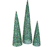 Set of 3 Graduated Sequined Cone Trees by Valerie - H212424
