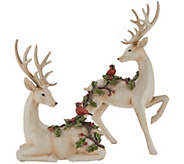 Set of 2 Deer Figurines with Embossed Cardinals by Valerie - H216224