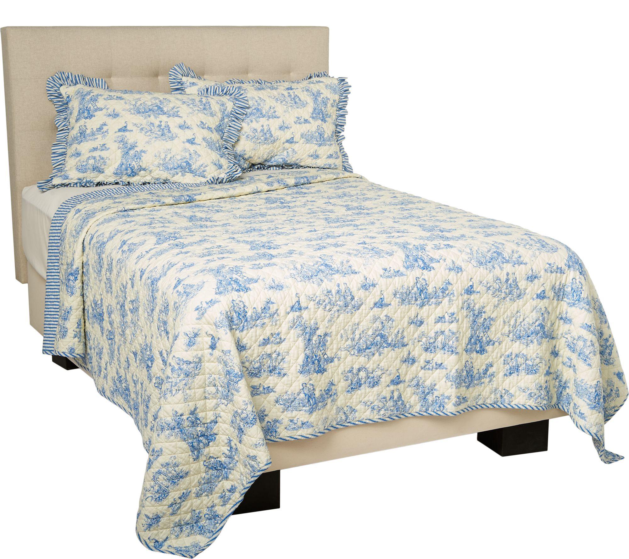 Top 100% Cotton Reversible Toile Quilt with Shams - Page 1 — QVC.com UT77