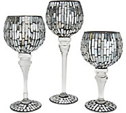 Set of 3 Illuminated Mosaic Goblets with Timer by Valerie - H213725