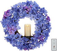 Luminara Faux Floral 15 Wreath w/ 2x3 Wax Pillar & Remote - H214925