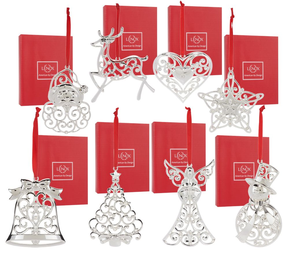 lenox set of 8 silver plated ornaments with gift boxes page 1 qvccom - Silver Plated Christmas Tree Decorations