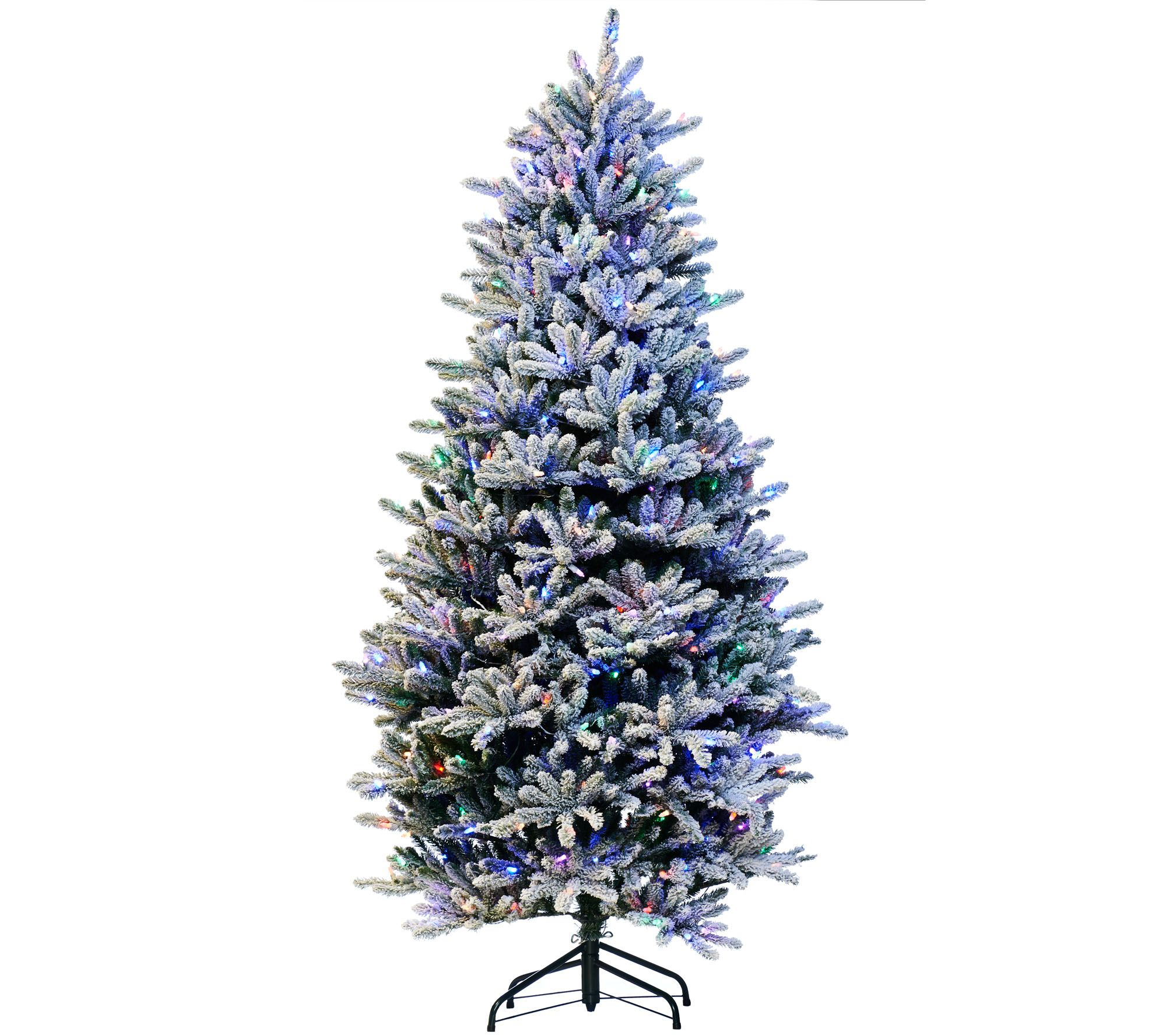 Santas Best Christmas Trees.Santa S Best 6 5 Rgb 2 0 Flocked Balsam Fir Christmas Tree Qvc Com