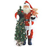 48 Lit Santa with Teddy Bear & Tree by SantasWorkshop - H289026
