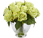 9 Rose Floral Arrangement in Glass Vase by Nearly Natural - H304226