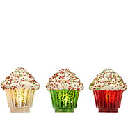 Set of 3 Illuminated Mercury Glass Cupcakes by Valerie - H215327