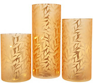 Set of 3 Frosted Glass Pillars w/ Microlights by Valerie - H215427