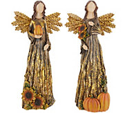 Plow & Hearth Set of 2 Autumnal Angel Figurines - H216127