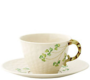 Belleek Shamrock Teacup and Saucer - H296227