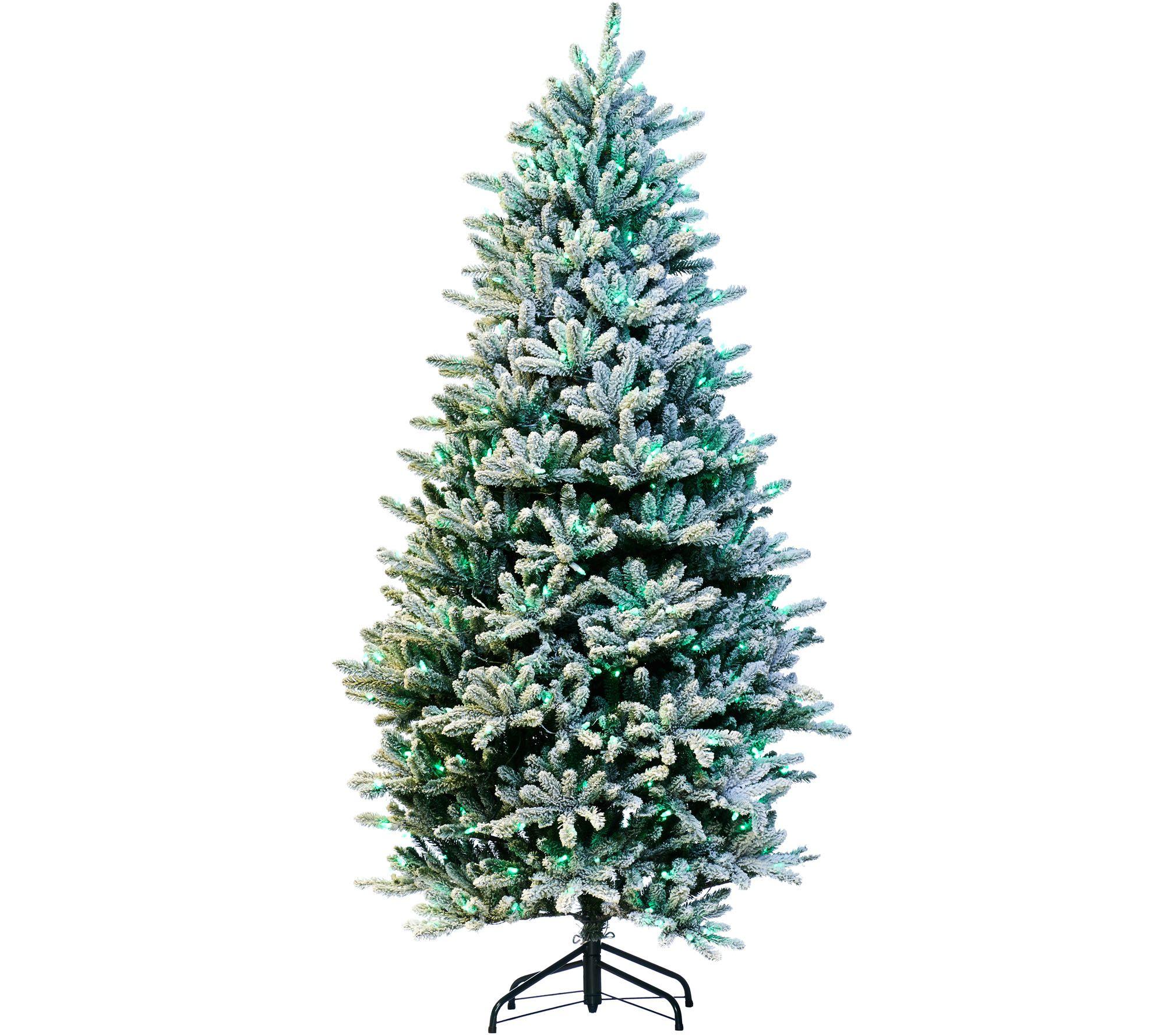 Santa S Best 9 Rgb 2 0 Flocked Balsam Fir Christmas Tree Qvc Com