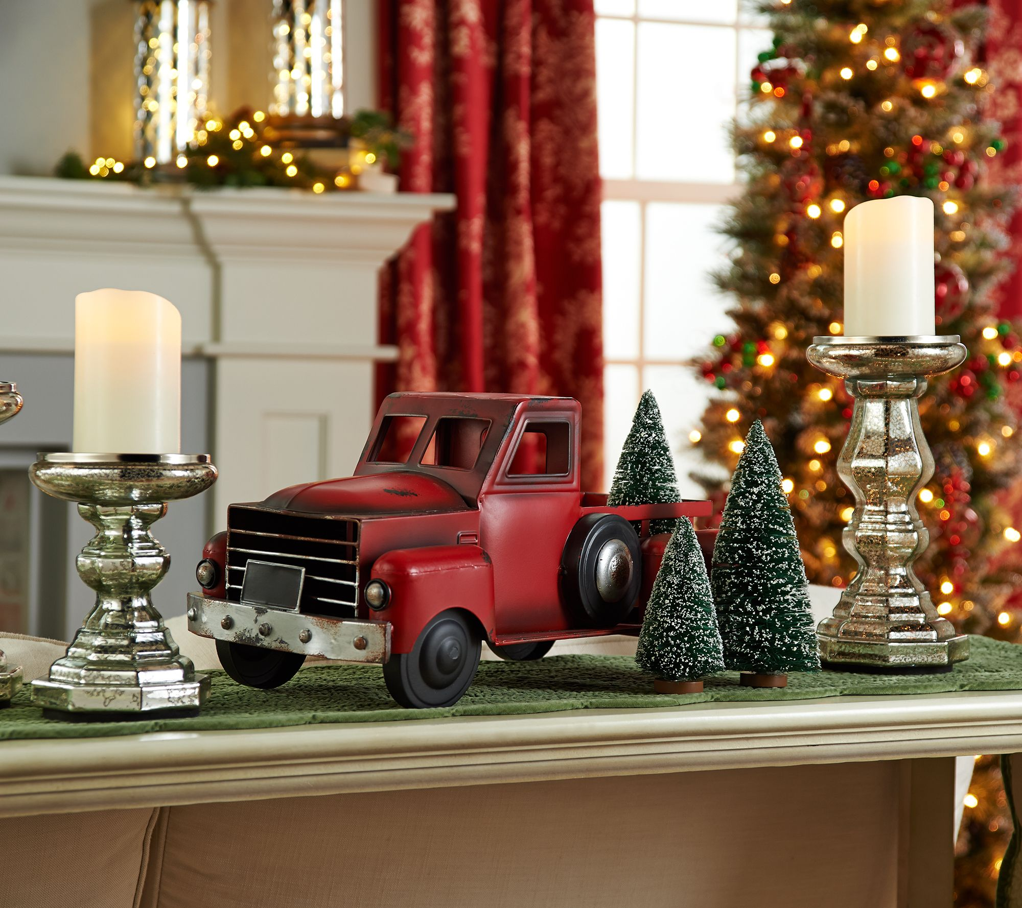 Old Truck With Christmas Tree Painting.Vintage Metal Red Truck With 3 Removable Bottlebrush Treesby Valerie Qvc Com