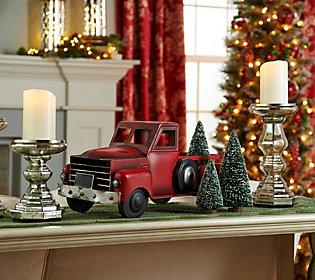 Vintage Metal Red Truck w/ Bottlebrush Treesby