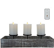 Luminara Wooden Candle Trough with (3) 3x4 Pillars - H214928
