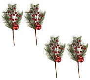 Set of 4 Jingle Bell Pinecone and Berry Picks by Valerie - H217028