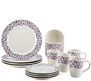 Rachael Ray 16-Piece Scroll Stoneware Dinnerware Set - H290228
