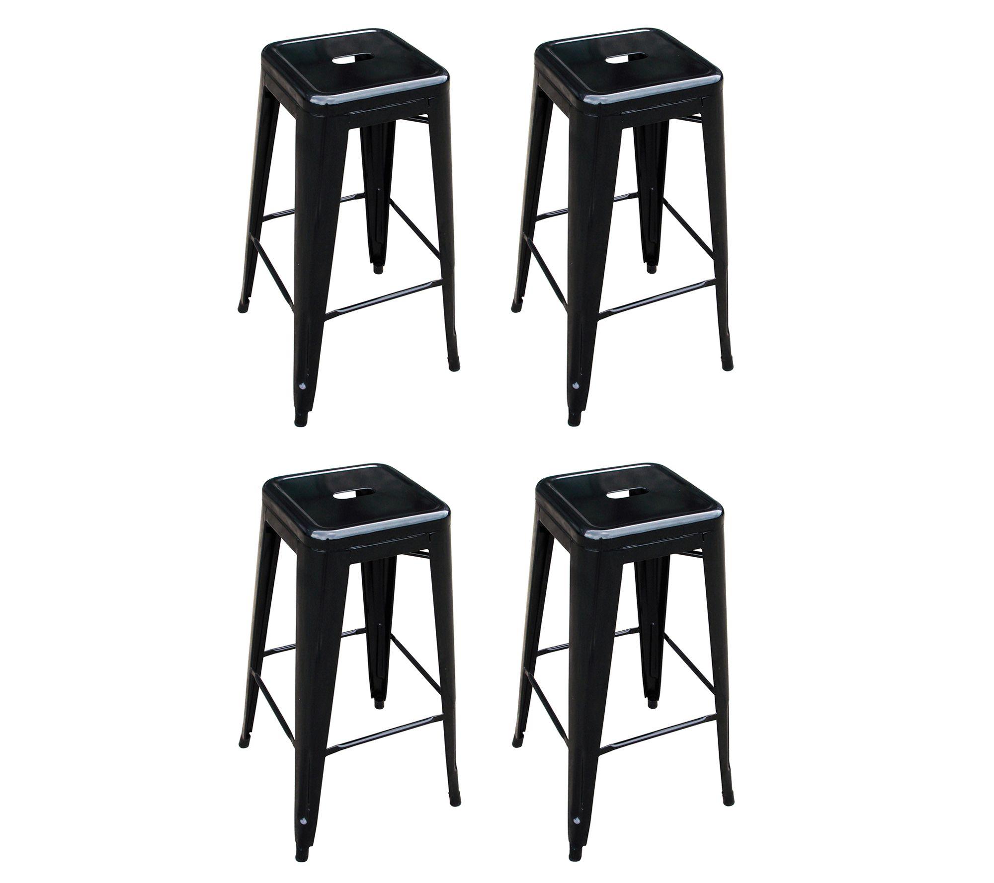 Astonishing Amerihome 30H Metal Bar Stool 4 Pack Qvc Com Gamerscity Chair Design For Home Gamerscityorg