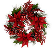 21 Poinsesttia, Ball and Cone Wreath by Valerie - H209129