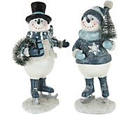 Set of (2) 10 Snowmen w/ Bottlebrush Accents by Valerie - H211829