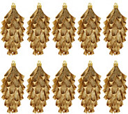 Set of 10 Glittered Ribbon Pinecone Ornaments by Valerie - H212529