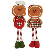 Set of (2) 21 Plush Gingerbread Characters by Valerie - H215329