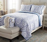Casa Zeta-Jones Cotton Reversible King Quilt w/ Shams & Storage Bin - H215529