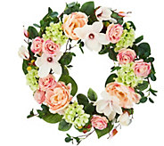 As Is 24 Spring Raspberry Rose & Magnolia Wreath - H216229