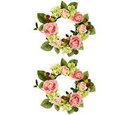 As Is Set of 2 Spring Raspberry Rose & Magnolia Rings, Valerie - H216230