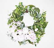 Hydrangea Peony & Tulip Crescent Floral Wreath by Valerie - H217930