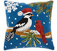 Mina Victory Christmas Birds Multicolor 18 x 18 Throw Pillow - H301630